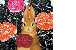05 허지나, 마음의 꽃을 드릴께요, 2018, 스크래치 보드 위에 혼합매체, 55x55cm